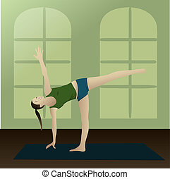 half moon posture in room - Young woman practicing yoga half...