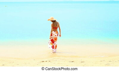 Woman in sarong and straw hat standing at the tropical beach...