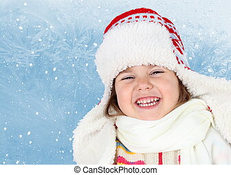 Little Girl in Winter Hat Laughing