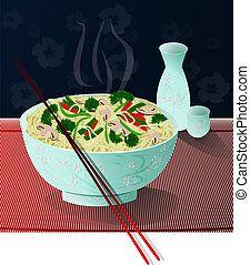 Noodles - A bowl of delicious noodles with vegetables and...
