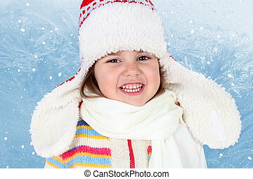 Little Child Girl in Winter Hat