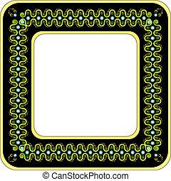Green floral pattern frame