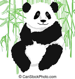 Panda with bamboo plants,on white background.