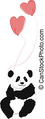 Panda sitting with 2 heart balloons, on white background