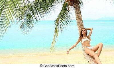 Sexy woman lying on palm tree at th - Sexy woman in bikini...