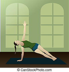 Side Plank - Vasisthasana practice yoga in room