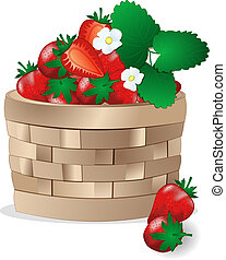 Wicker basket with strawberries