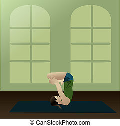Upward Lotus in Shoulder Stand - Young woman practicing yoga...