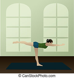 Warrior 3 Pose, Virabhadrasana 3 - Young woman practicing...