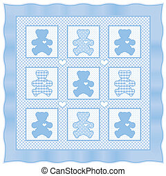 Teddy Bear Baby Quilt, Pastel Blue - Teddy Bears with big...