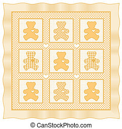 Teddy Bear Baby Quilt, Yellow - Teddy Bears with big hearts,...