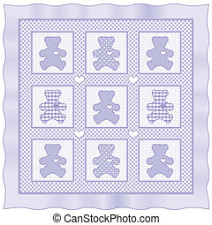 Teddy Bear Baby Quilt, Lavender - Teddy Bears with big...