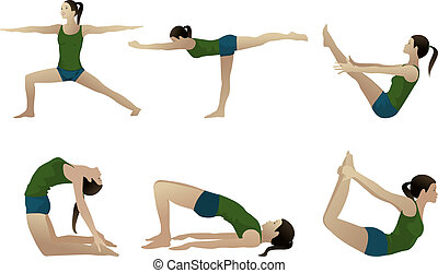Yoga series 3, six yoga poses on white