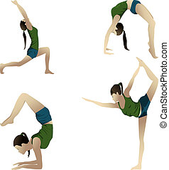 Yogi on white - Young girl practicing yoga 4 positions