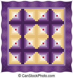 Quilt, Log Cabin Design Pattern - Log Cabin Quilt, barn...