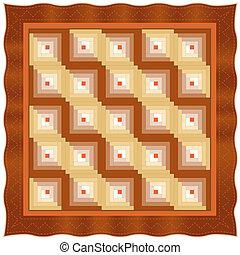 Quilt, Log Cabin Design Pattern
