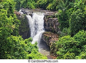 Tegenungan, cascada, hermoso, cascada, localizado, meseta,...
