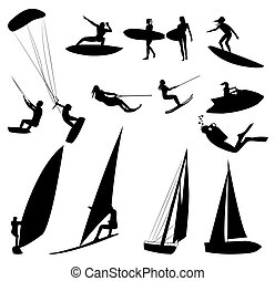 Silhouettes of water sports, isolated on white