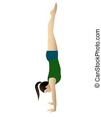 Handstand - Young woman practicing yoga Adho Mukha...