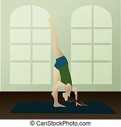 Standing Split - Young woman practicing yoga Urdhva...