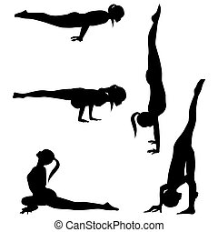 Silhouettes yoga practice-group 2 - Five silhouettes yoga...