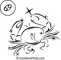 Cancer - Lovely zodiac signs formed by stars on black...