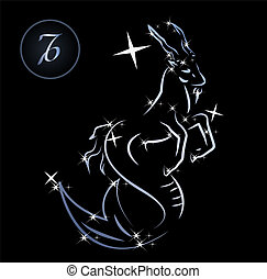 Capricorn - Lovely zodiac signs formed by stars on black...