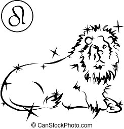 Leo - Lovely zodiac signs formed by stars on black...