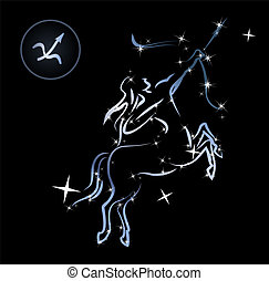 Sagittarius - Lovely zodiac signs formed by stars on black...
