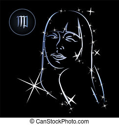Virgo - Lovely zodiac signs formed by stars on black...