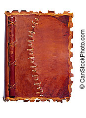 old leather-bound diary - an old diary or notebook with a...