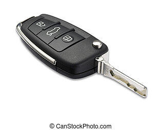 car key shallow dof with clipping path - a car key with...