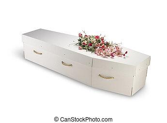 papelão, bio-degradable, eco, caixão, isolado,...