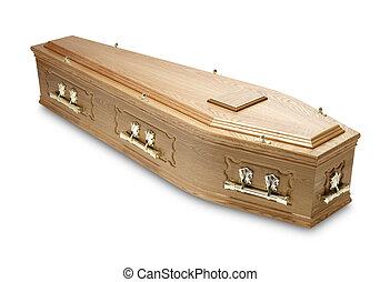 Ornate, mogno, caixão, caixão, bronze, cabos
