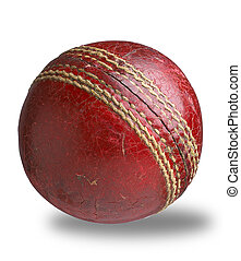old worn used cricket ball isolated with clipping path
