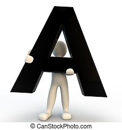 3D Human character holding black letter A, small people