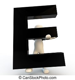 3D Human character holding black letter E, small people