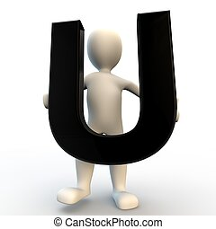 3D Human character holding black letter U, small people