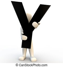 3D Human character holding black letter Y, small people