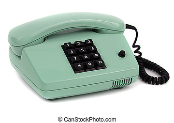old light green telephone