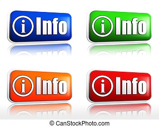info buttons - Color web buttons with text and info sign