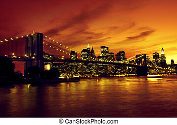 Brooklyn Bridge and Manhattan at sunset, New York, sepia...