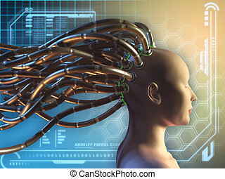 Connected mind - Female figure with some cables attached to...