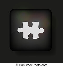 Vector puzzle icon on black. Eps10