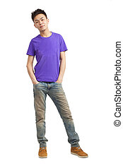 Full length of asian stylish young man standing