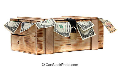 wooden case with dollar notes with padlock