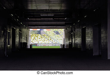 Stadium tunnel leading to the pitch - entrance to the soccer...