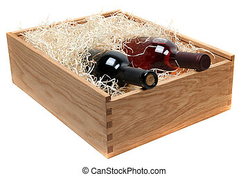 two wine bottles in wooden case with wood-wool on white