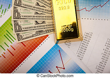 Gold bars with a linear graph - Gold bars with a linear...