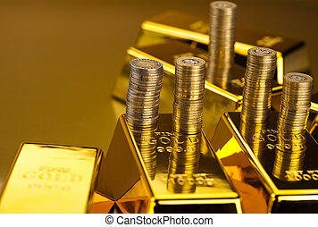 Gold bars and coins  - Gold bars and coins